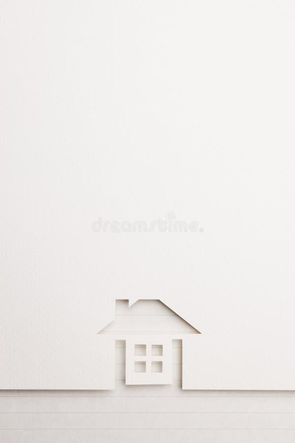 Achtergrond van volledig huis op schrijfpapiergrens stock fotografie