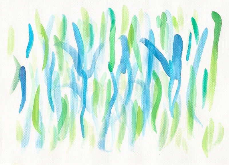 Achtergrond van waterverf de blauwgroene lijnen royalty-vrije illustratie