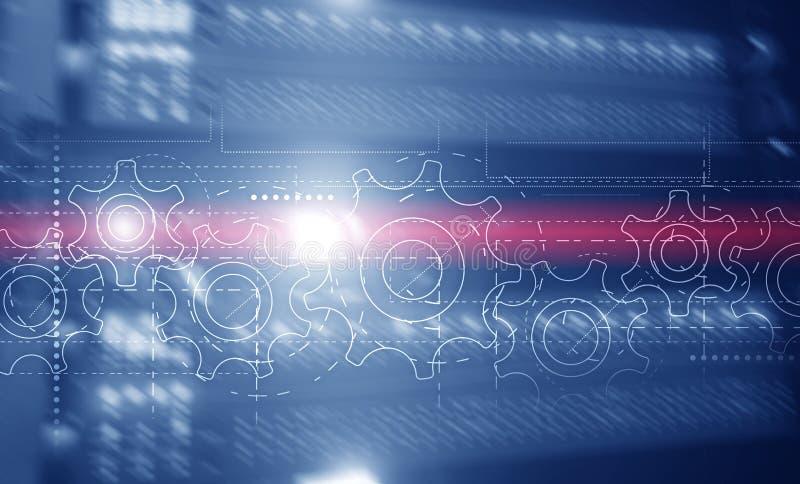 Achtergrond van website Header Technology Corporation Tandwielen op een langwerpige achtergrond royalty-vrije illustratie