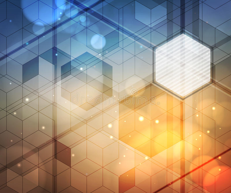 Achtergrond van zeshoeken, aanstekende gevolgen, vaag licht Modern abstract ontwerp stock illustratie