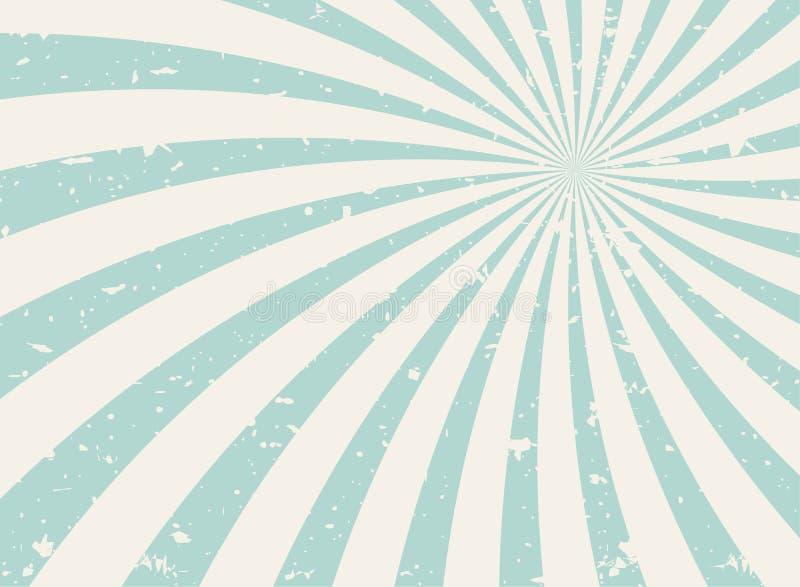 Achtergrond van zonlicht de brede spiraalvormige grunge groene en beige retro achtergrond Vector horizontale illustratie royalty-vrije illustratie