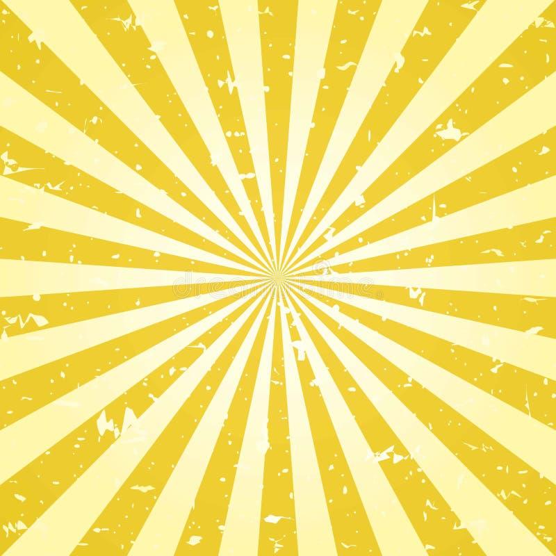Achtergrond van zonlicht retro grunge de gele achtergrond van de kleurenuitbarsting Vector illustratie royalty-vrije illustratie