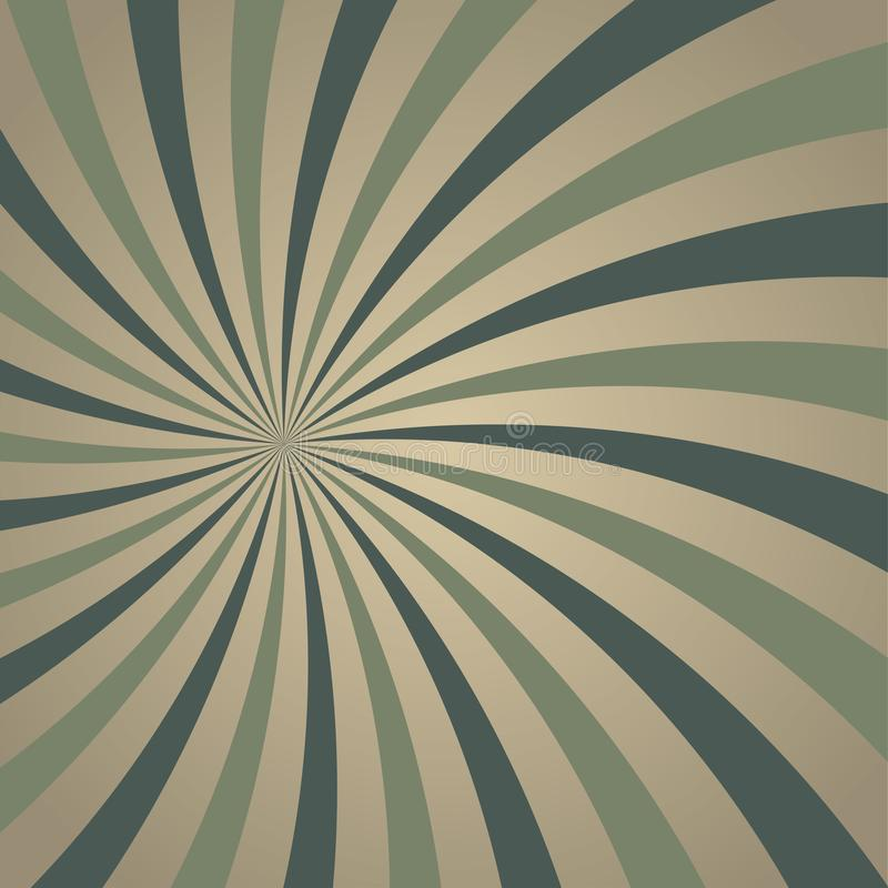 Achtergrond van zonlicht retro langzaam verdwenen spiraalvormige grunge de vuile grijze en groene achtergrond van de kleurenuitba vector illustratie