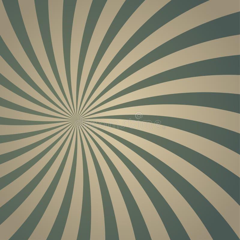 Achtergrond van zonlicht retro langzaam verdwenen spiraalvormige grunge de vuile grijze en groene achtergrond van de kleurenuitba stock illustratie