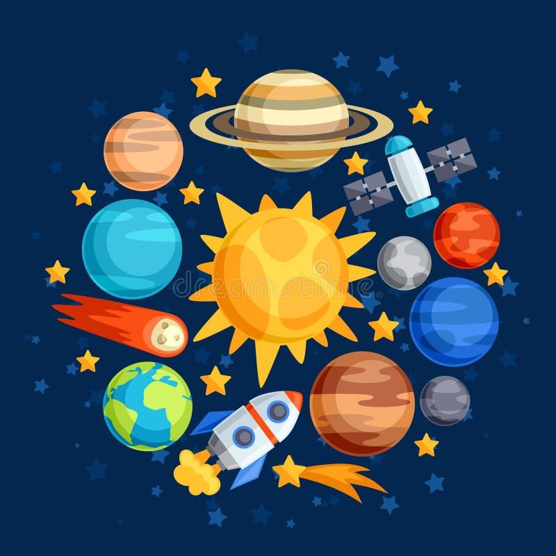 Achtergrond van zonnestelsel, planeten en hemel vector illustratie