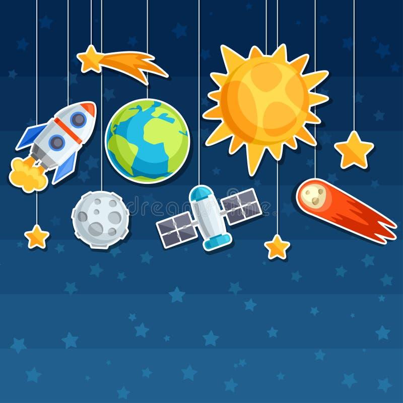 Achtergrond van zonnestelsel, planeten en hemel royalty-vrije illustratie