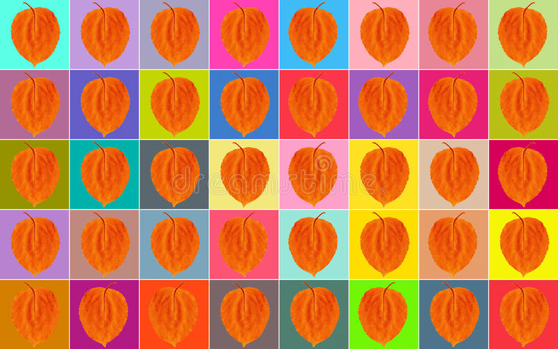 Achtergrond Veelkleurige vierkanten met een oranje blad stock foto