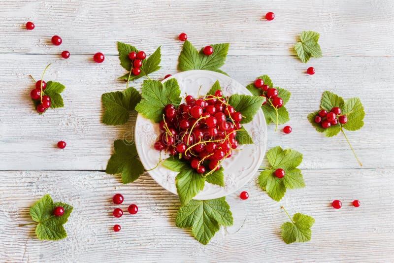 Achtergrond: verse rode aalbes op witte uitstekende plaat, bessen en groene bladeren op lichte houten lijst, hoogste mening royalty-vrije stock afbeeldingen