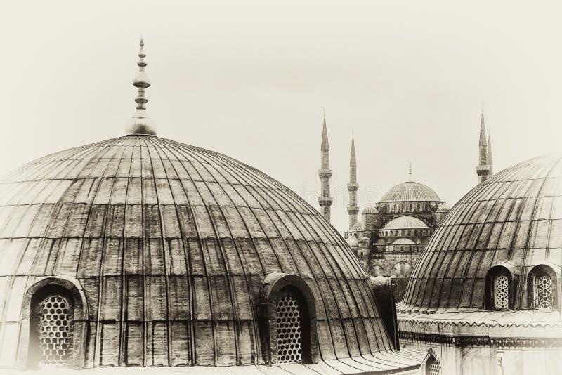 achtergrond voor de blauwe moskee stock afbeeldingen