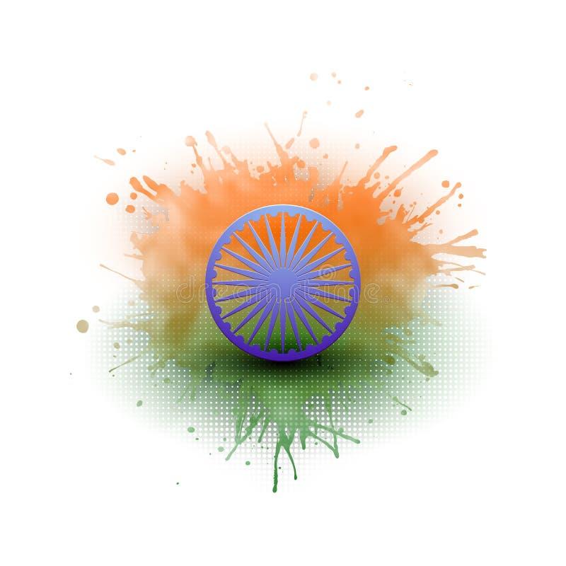 Achtergrond voor de Gelukkige Indische viering van de Onafhankelijkheidsdag met Ashoka-wiel en nationale vlagkleuren, vectorillus vector illustratie