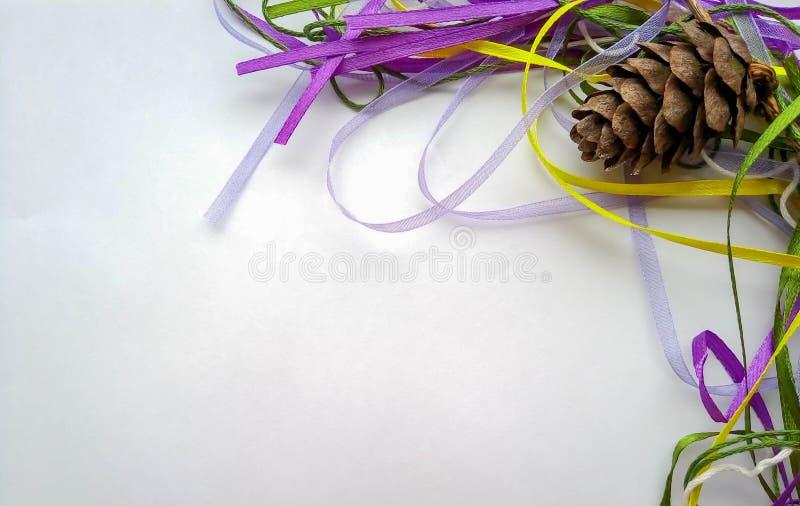 Achtergrond voor de nieuwe jaarbuil met linten royalty-vrije stock afbeelding