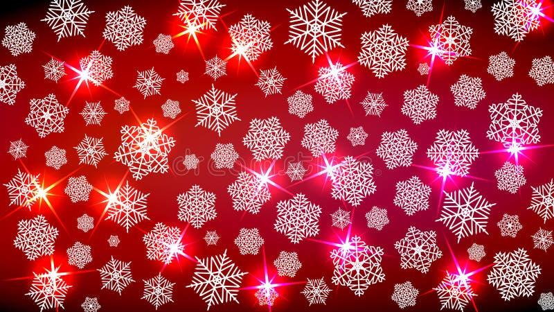Achtergrond voor de Nieuwjaarstemming Vrolijke Kerstmis Sneeuwvlokken en fonkelingen in rode tonen Geeft een feestelijke cosiness vector illustratie