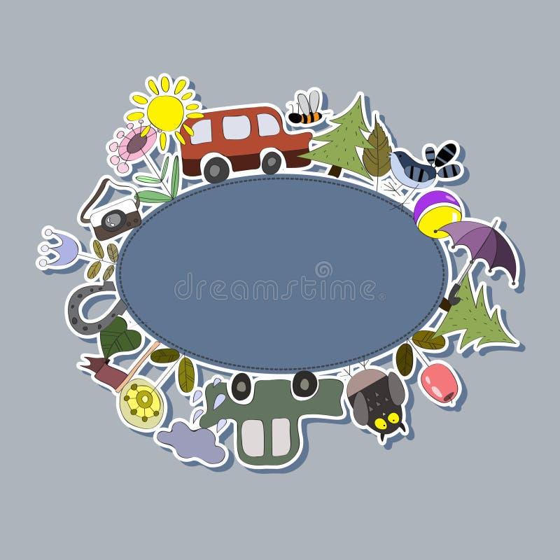 Achtergrond voor jonge geitjes met auto's, vogels en bloemen vector illustratie