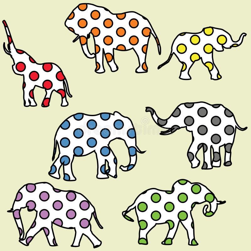 Achtergrond voor jonge geitjes met gestippelde olifanten royalty-vrije illustratie