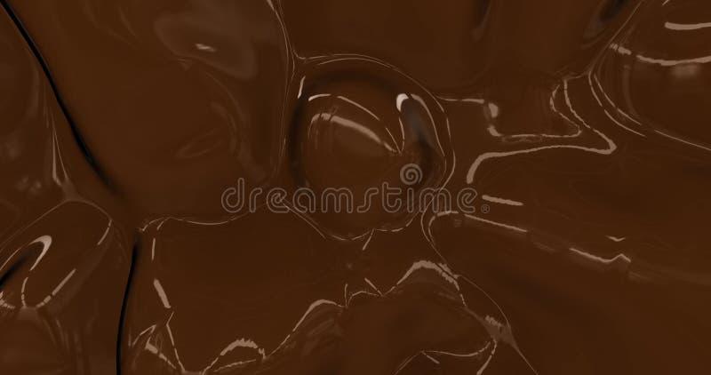 Achtergrond voor vloeibare warme chocolade Gesmolten donkere chocoladetextuur 3D rendering Glamour sildrum animatie stock illustratie