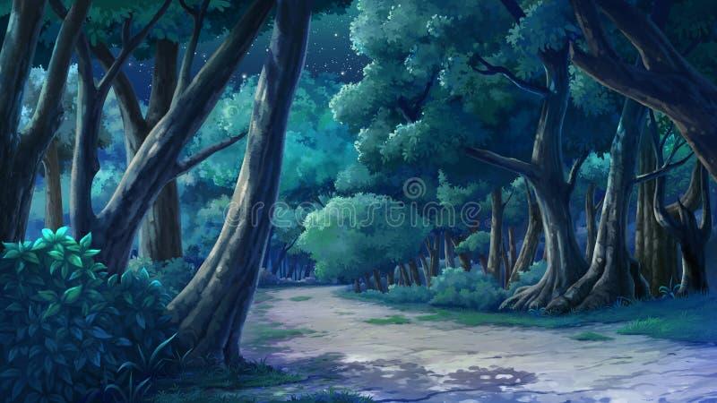 Achtergrond voor wildernis bij nacht royalty-vrije illustratie