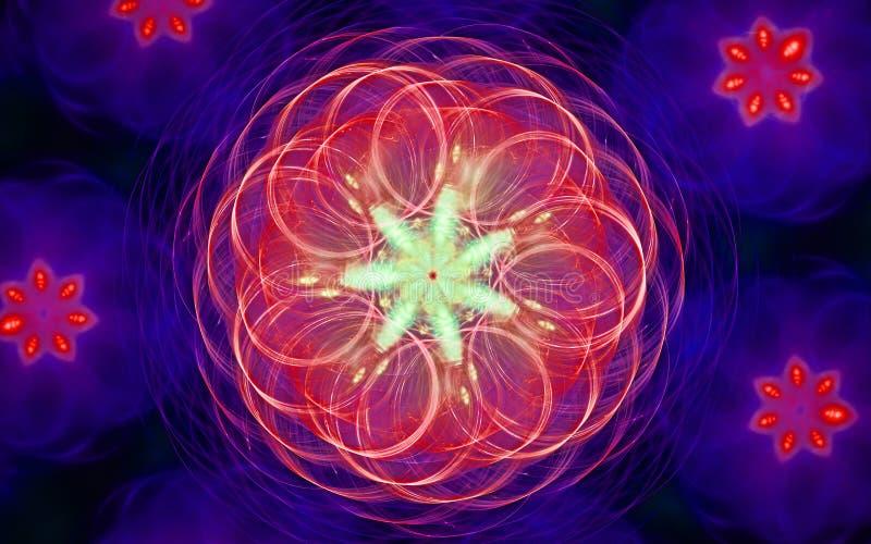 Achtergrondafbeelding van een abstracte bloem met rode spiraalvormige bloemblaadjes op een achtergrond van lilac bloemen met ster vector illustratie