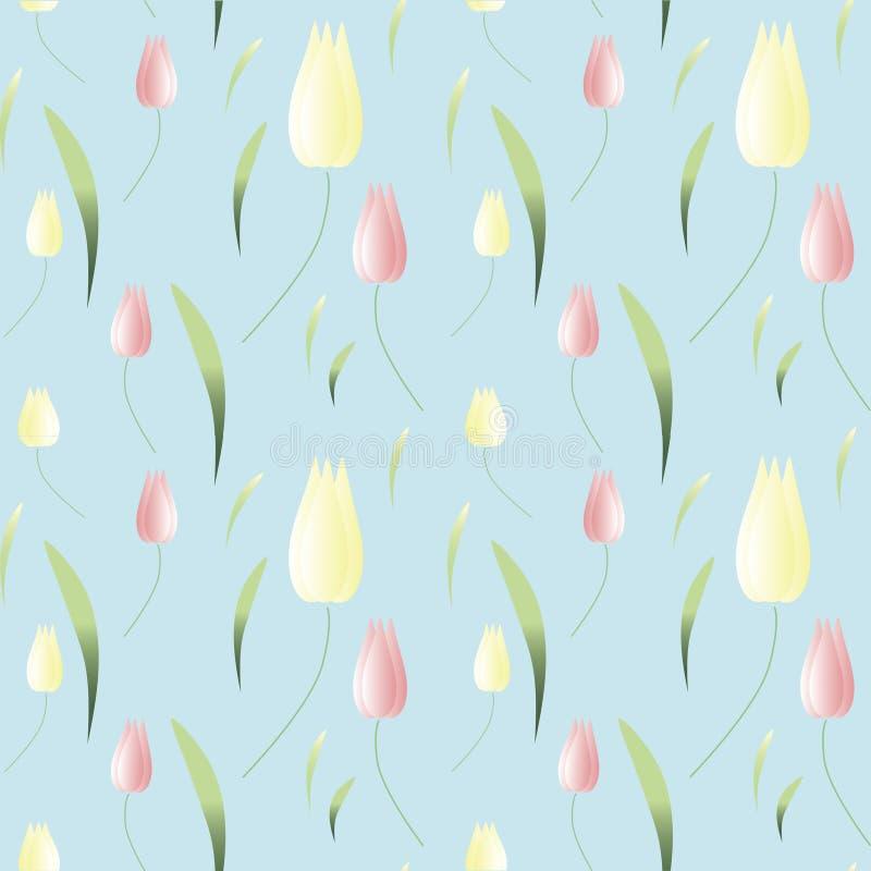 Achtergrondbehang met de lentetulpen Vector stock illustratie