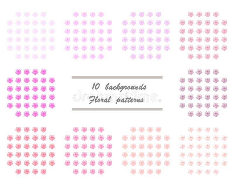 10 achtergronden - Bloemenpatronen royalty-vrije illustratie