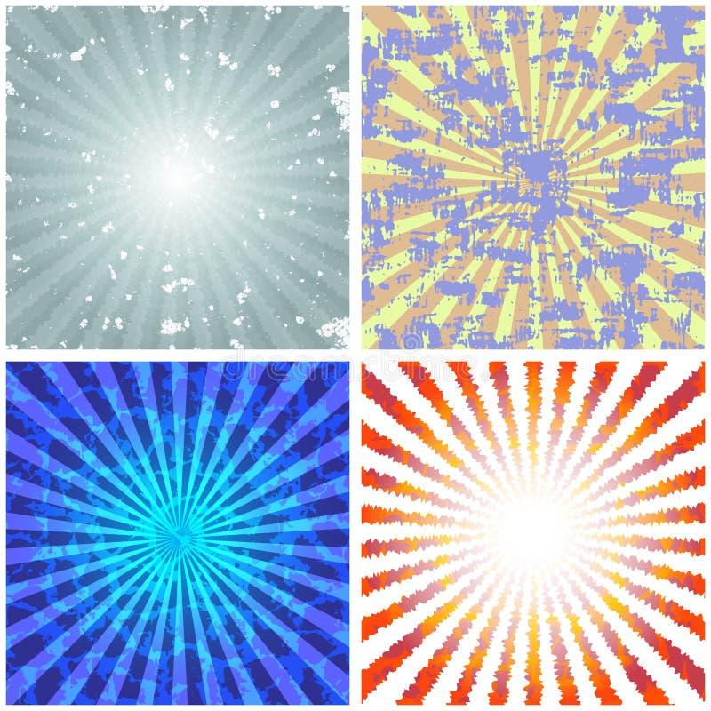 Achtergronden met abstracte stralen stock illustratie