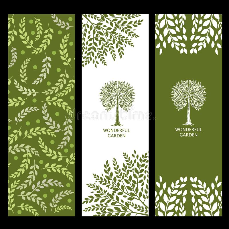 Achtergronden met bomen Prachtige tuin Installatieelementen voor landschapsontwerp stock illustratie