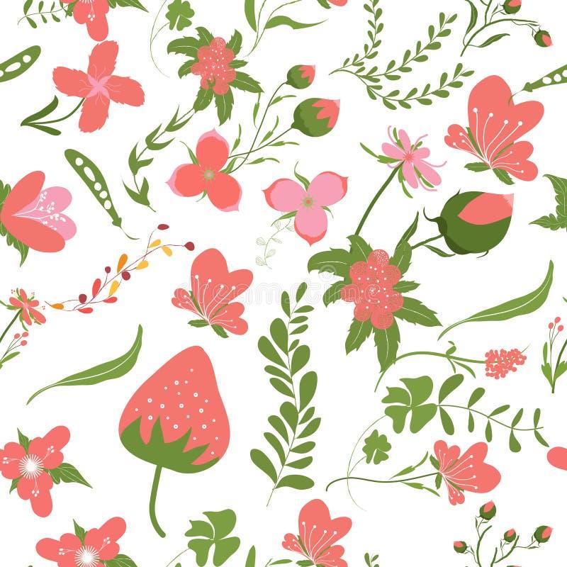 Achtergronden van de lente de roze bloemen - naadloos bloemenpatroon stock illustratie