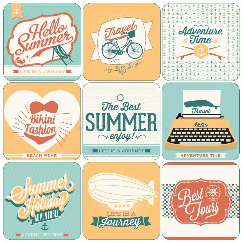 Achtergronden van de zomer de kalligrafische ontwerpen stock illustratie