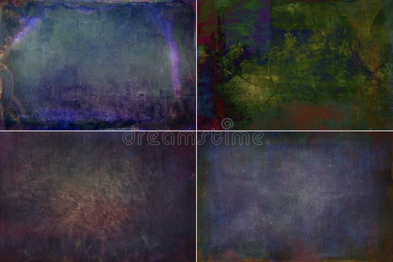 Achtergronden van inzamelings de donkere gekleurde grunge texturen stock foto