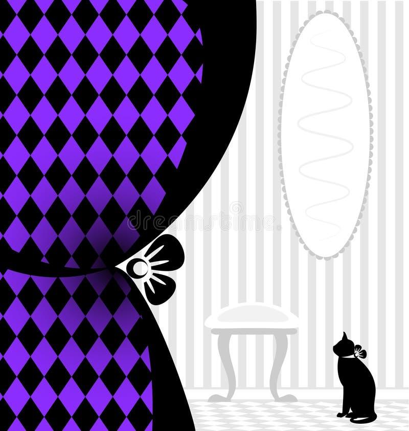 achtergrondfantasie zwarte kat royalty-vrije illustratie