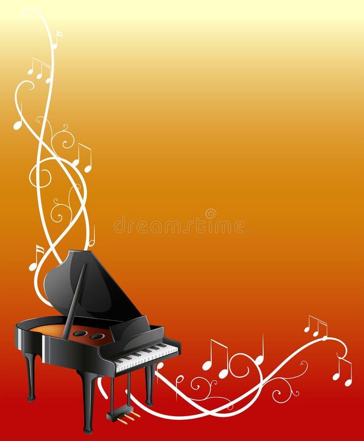 Achtergrondmalplaatje met grote piano vector illustratie