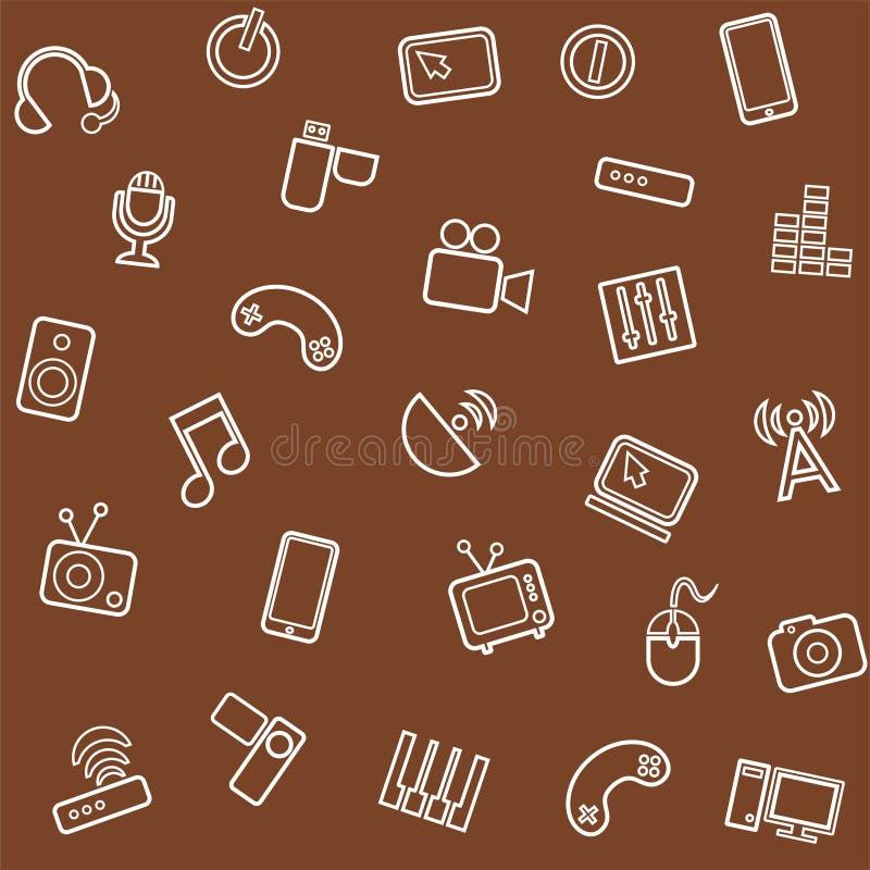 Achtergrondmedia, bruine computer, video, naadloos, vector illustratie