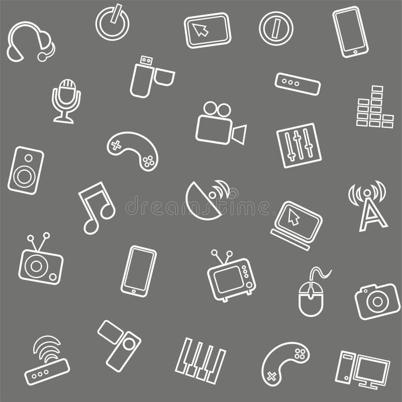Achtergrondmedia, grijze computer, video, naadloos, stock illustratie