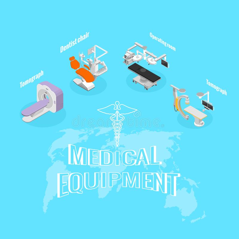 Achtergrondmedische apparatuur, verkoop van materiaal stock illustratie