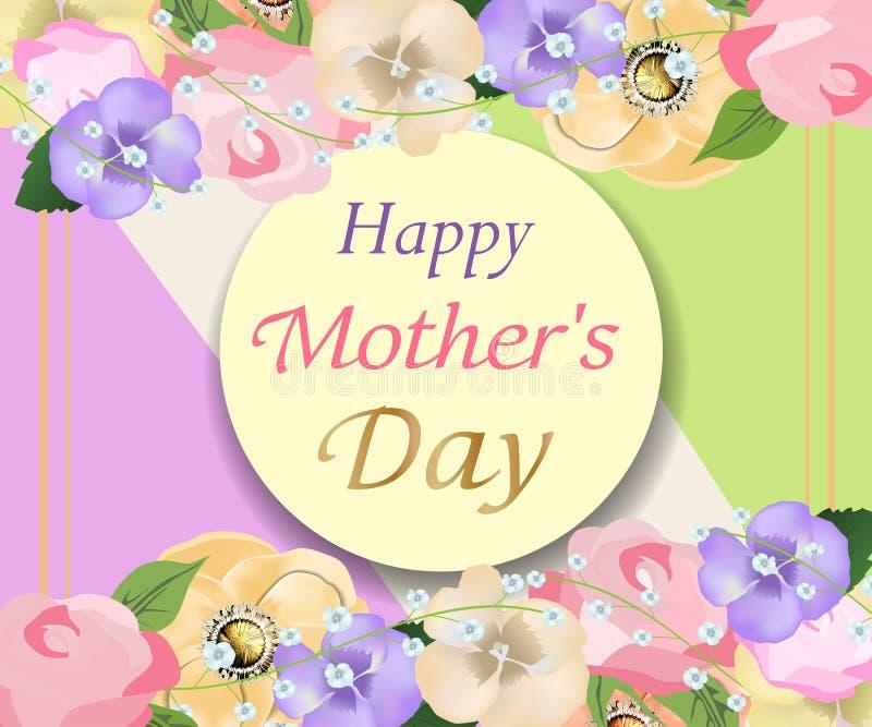 Achtergrondmoedersdag met de mooie bloemen en kaart van de cirkelgroet Ontwerp voor affiches, banners of kaarten Vector royalty-vrije illustratie