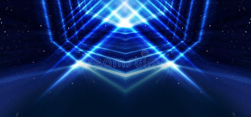 Achtergrondmuur met neonlijnen en stralen Achtergrond van een lege donkere gang met neonlicht Abstracte achtergrond met lijnen en stock illustratie