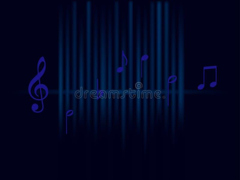 Achtergrondmuziek blauwe correcte die golven en nota's op donkere achtergrond worden geïsoleerd vector illustratie