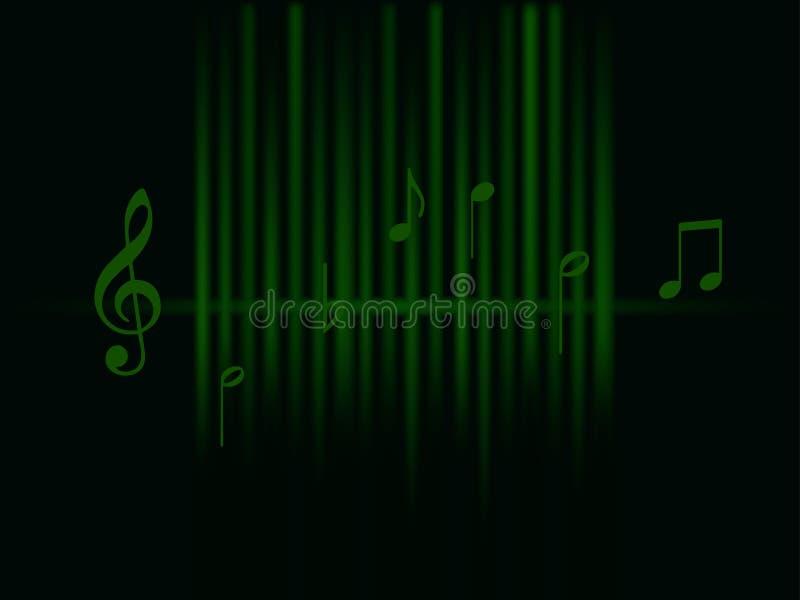 Achtergrondmuziek groene correcte die golven en nota's op donkere achtergrond worden geïsoleerd vector illustratie