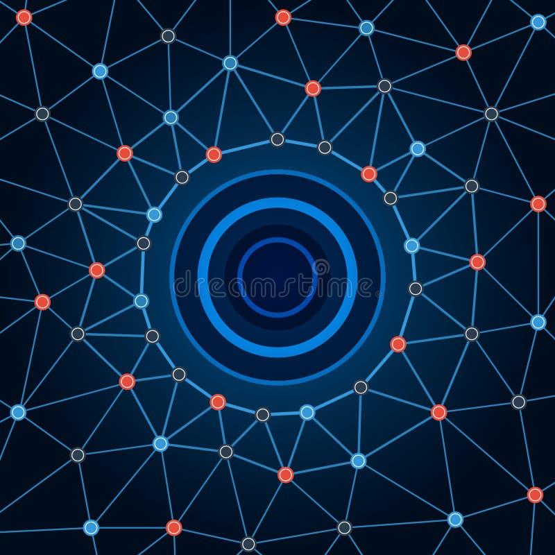 Achtergrondnetwerk De achtergrond omcirkelt punten en lijnen vector illustratie