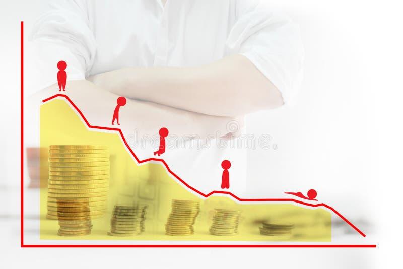 Achtergrondonduidelijk beeldzakenman en vreemde valuta, rood beeldverhaal die een negatieve houding en grafieken, statistieken to stock foto