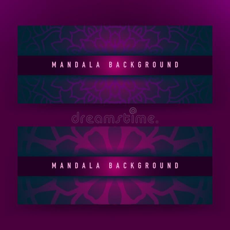 Achtergrondontwerp met mandala vectorornament Mandala etnische sier in achtergrondontwerp met kleurengradiënt royalty-vrije illustratie