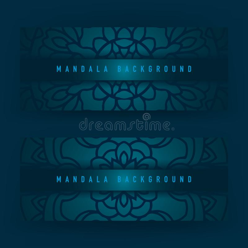 Achtergrondontwerp met mandala vectorornament Mandala etnische sier in achtergrondontwerp met kleurengradiënt stock illustratie
