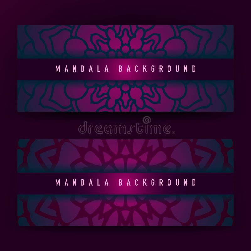 Achtergrondontwerp met mandala vectorornament Mandala etnische sier in achtergrondontwerp met kleurengradiënt vector illustratie