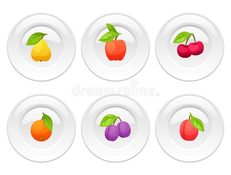 Achtergrondontwerp met platen en gestileerde verse rijpe vruchten stock illustratie