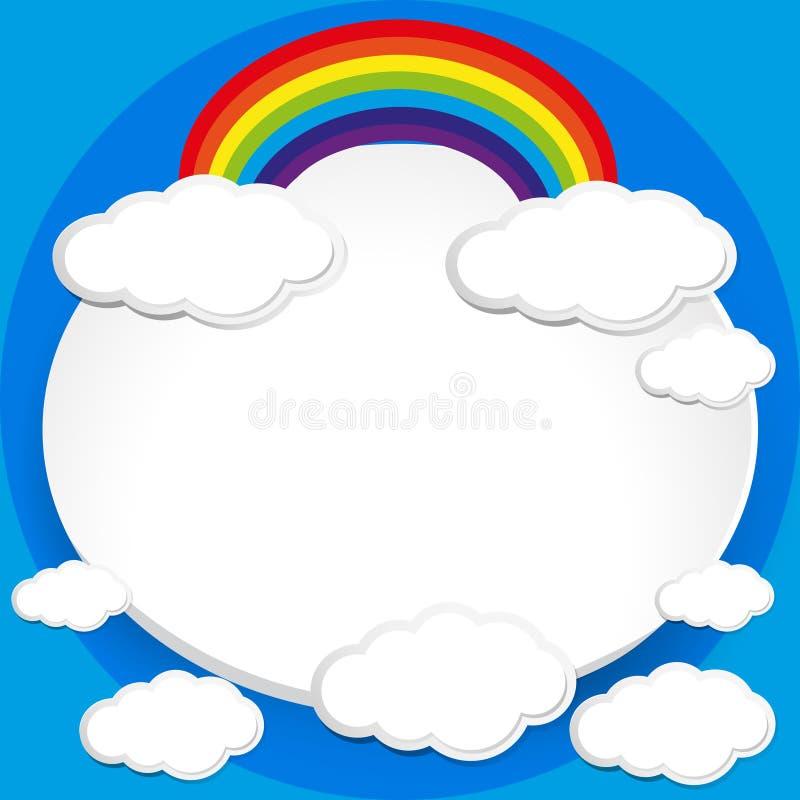 Achtergrondontwerp met regenboog in blauwe hemel royalty-vrije illustratie