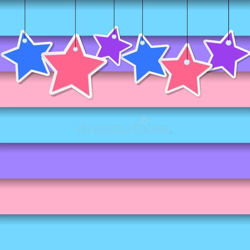 Achtergrondontwerp met sterren die op kleurrijke muur hangen royalty-vrije illustratie
