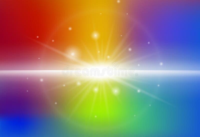 Achtergrondontwerp met straallicht op regenboogachtergrond stock illustratie