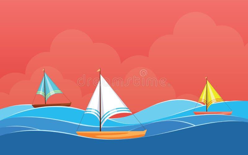 Achtergrondontwerp met Varende boot, de vector van het Desktopbehang vector illustratie