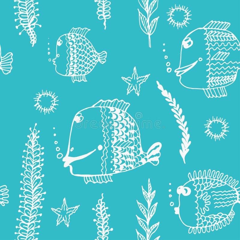 Achtergrondpatroon van de illustratie van de vissenkrabbel royalty-vrije illustratie