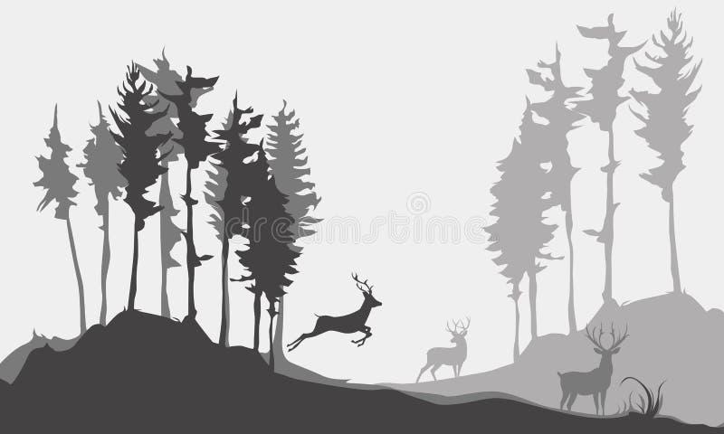 Achtergrondsilhouet van herten in het bos stock illustratie