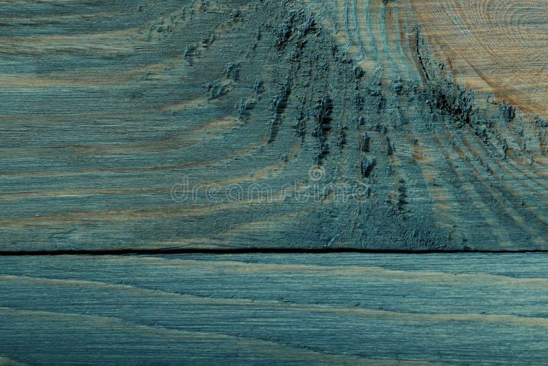 Achtergrondtextuur van geschilderd hout Hoogste mening over de textuur van een blauwgroene houten raad stock foto's
